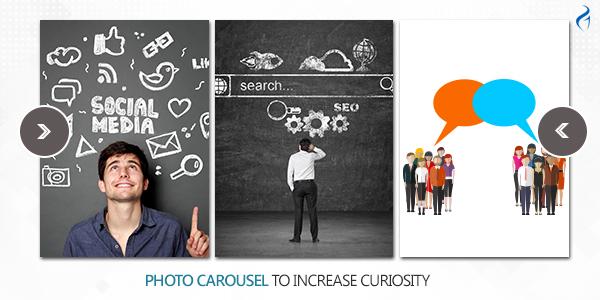 Photo carousel to increase curiosity